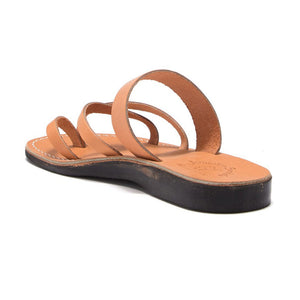 Exodus Tan, handmade leather slide sandals with toe loop - back View