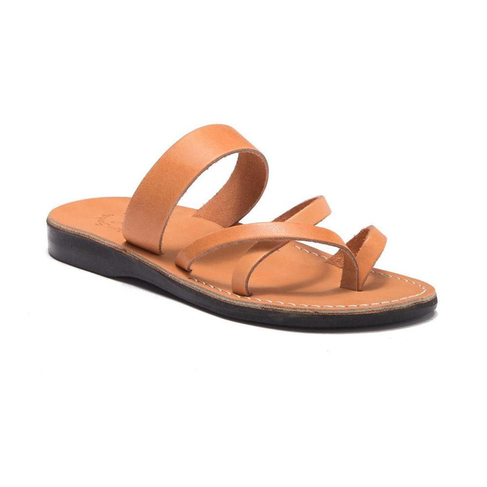 Exodus Tan, handmade leather slide sandals with toe loop - Front View