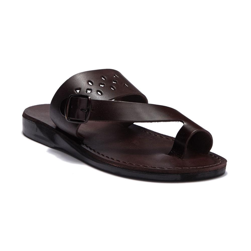 Ezra Brown, handmade leather slide sandals with toe loop - Front View