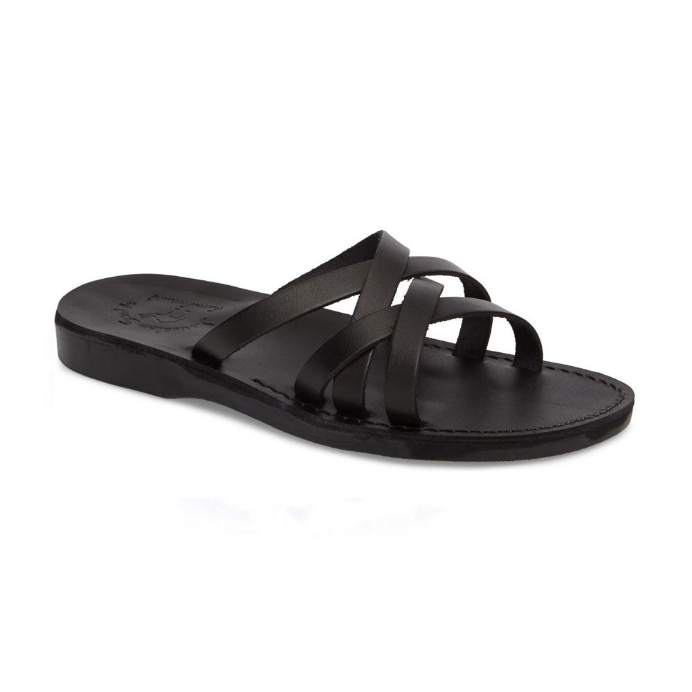 Gad Black, handmade leather slide sandals - Front View