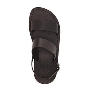 Golan black, handmade leather sandals with back strap  - Side View