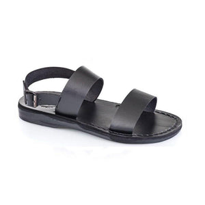 Golan black, handmade leather sandals with back strap - Front View