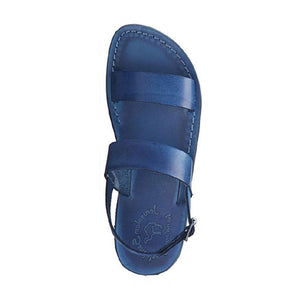 Golan blue, handmade leather sandals with back strap  - Side View