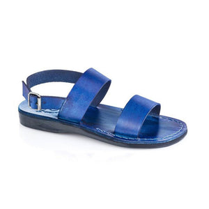 Golan blue, handmade leather sandals with back strap  - Front View