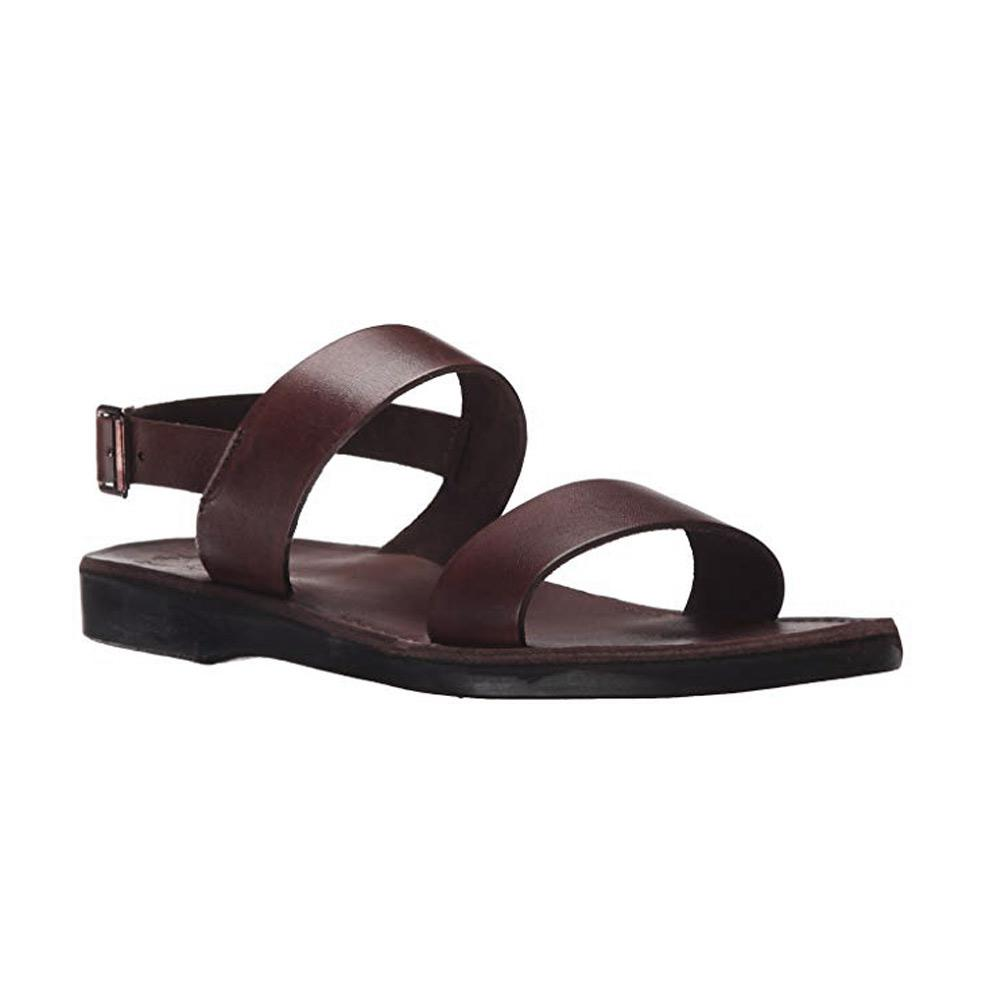 Golan brown, handmade leather sandals with back strap  - Front View