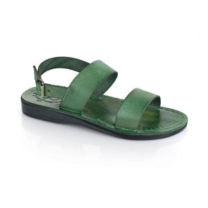Golan green, handmade leather sandals with back strap  - Front View
