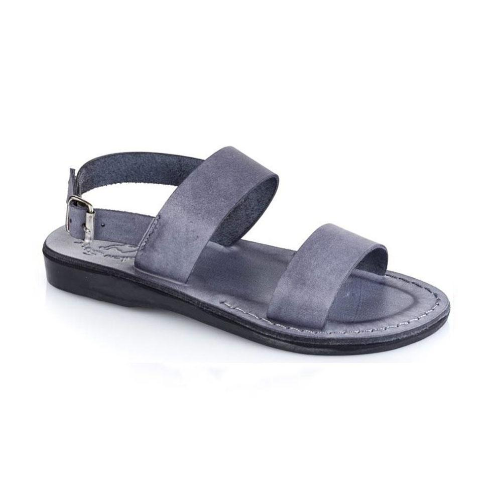 Golan gray, handmade leather sandals with back strap  - Front View