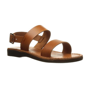 Golan honey, handmade leather sandals with back strap  - front View