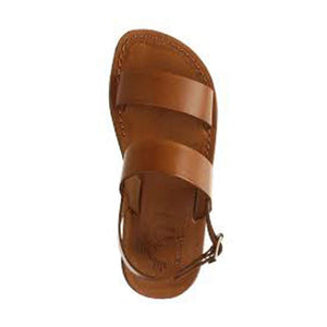 Golan honey, handmade leather sandals with back strap  - Side View