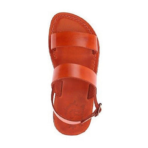Golan orange, handmade leather sandals with back strap  - Side View