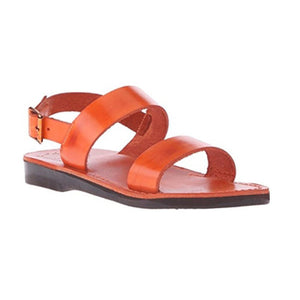 Golan orange, handmade leather sandals with back strap  - Front View