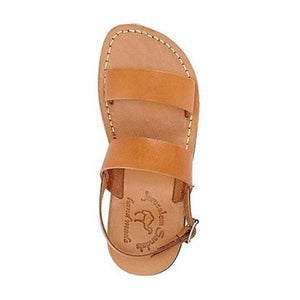 Golan Tan, handmade leather sandals with back strap - side View
