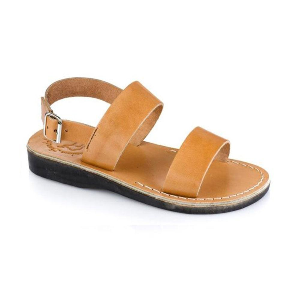 Golan Tan, handmade leather sandals with back strap - Front View