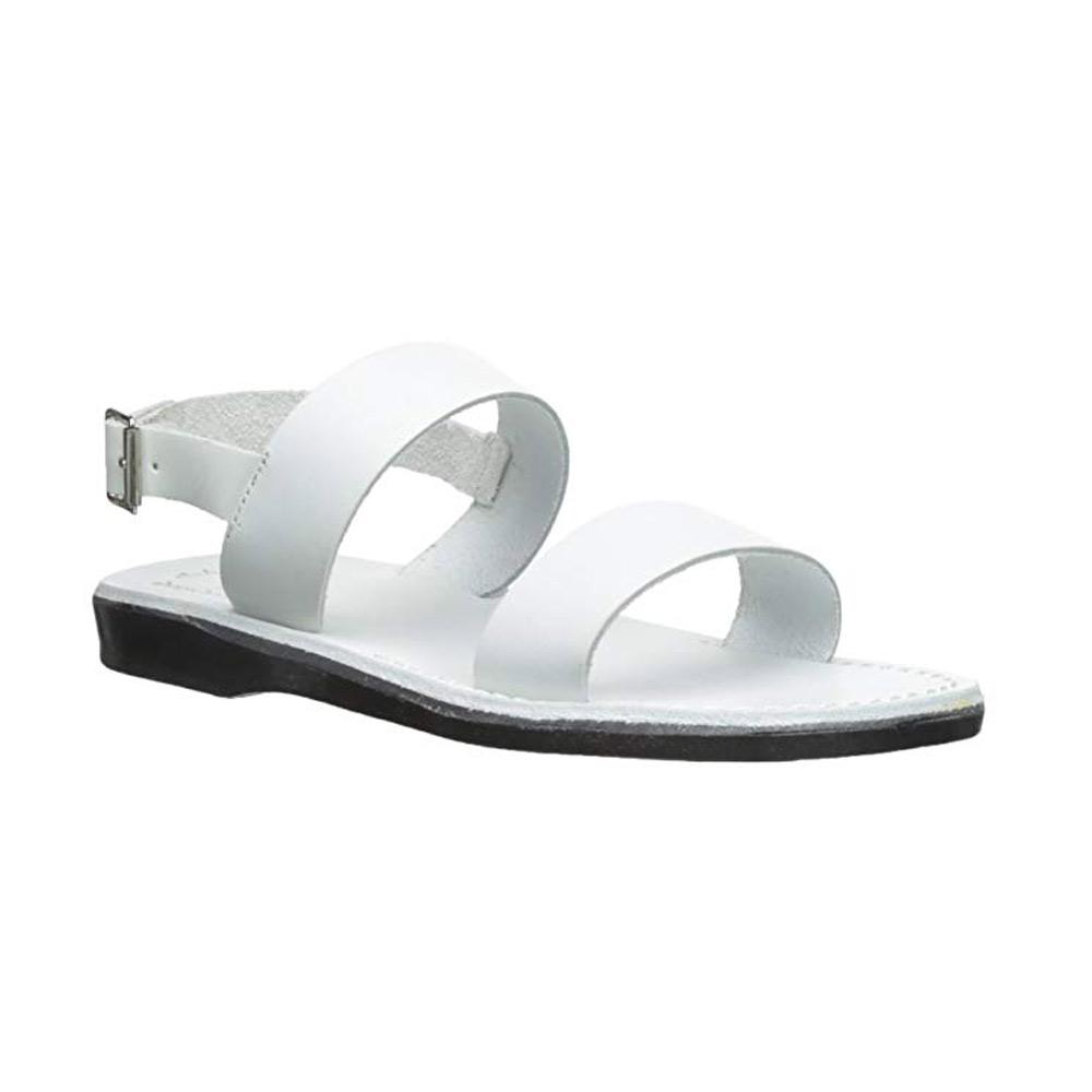 Golan white, handmade leather sandals with back strap  - Front View