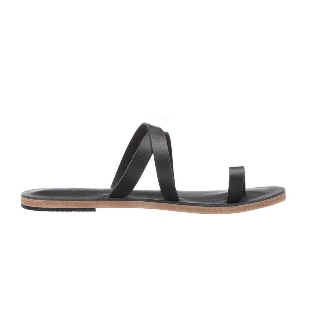 Hollywood Blvd - Leather Slip On Sandal | Black