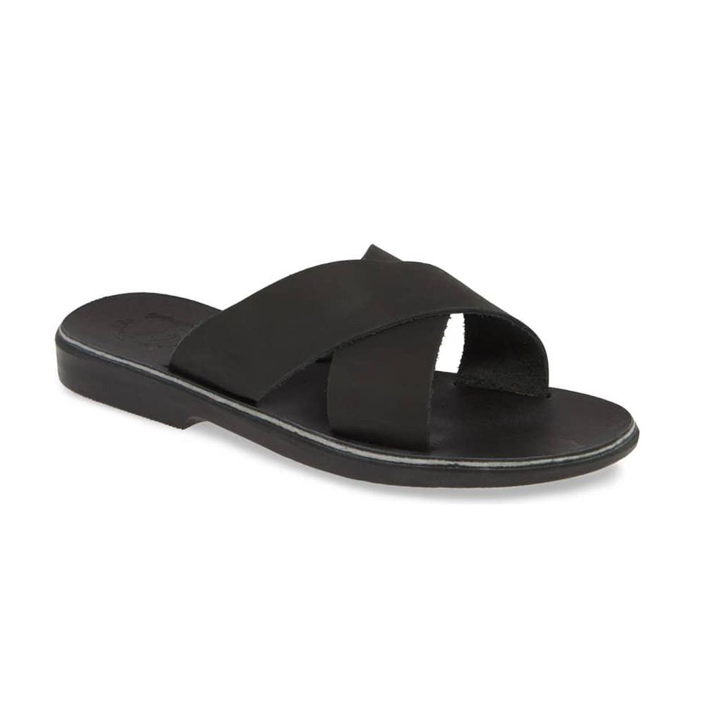 Isla black suede, handmade leather slide sandals - Front View