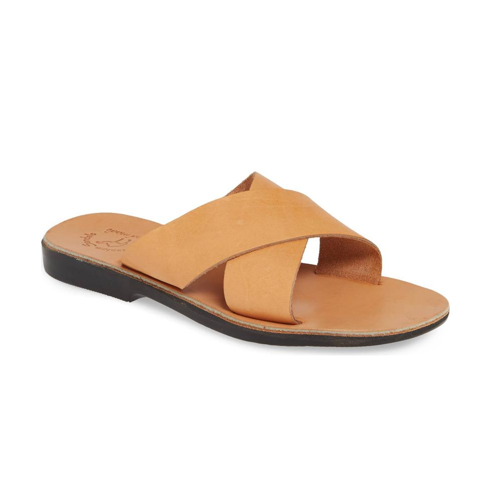 Isla tan, handmade leather slide sandals - Front View