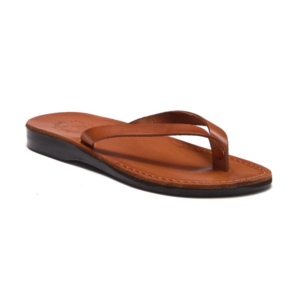 Jaffa Honey, slip-on flip flop style leather sandal - front view