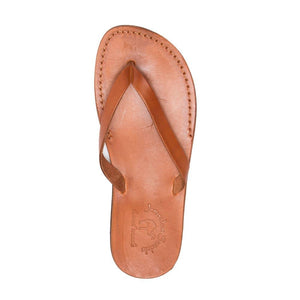 Jaffa Honey, slip-on flip flop style leather sandal - side view