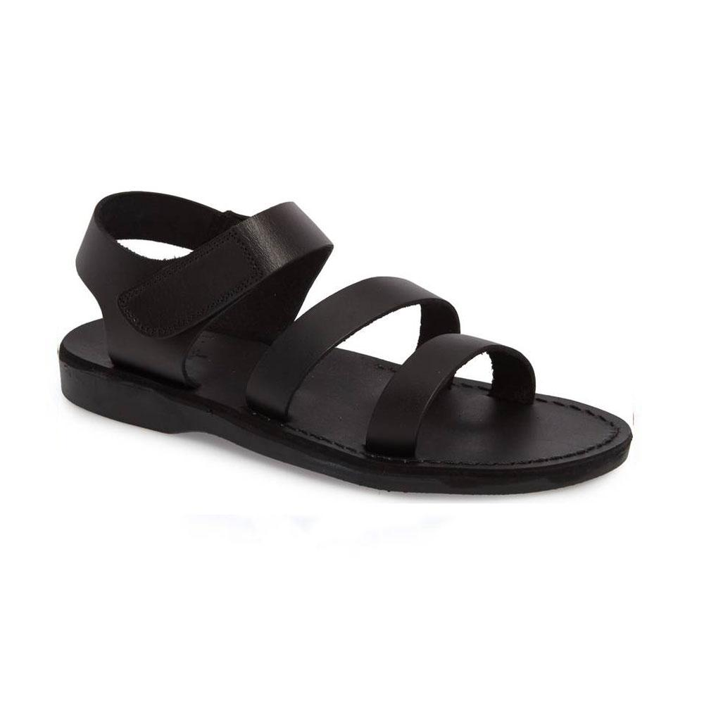 Jared black, handmade leather sandals with back strap and toe loop- front View