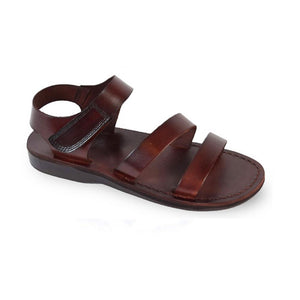 Jared brown, handmade leather sandals with back strap and toe loop- front View