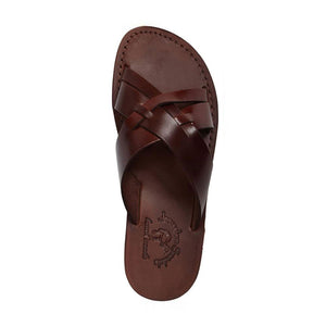 Jesse brown, handmade leather slide sandals - side View