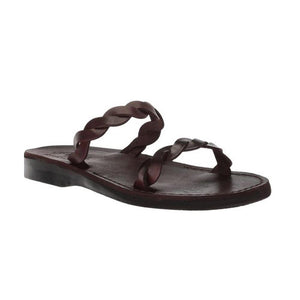 Joanna brown, handmade leather slide sandals - Front View