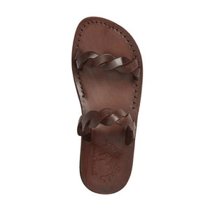 Joanna brown, handmade leather slide sandals - Side View