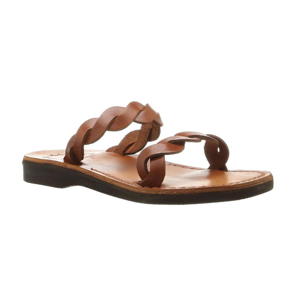 Joanna honey, handmade leather slide sandals - Front View