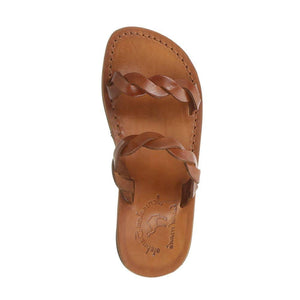 Joanna honey, handmade leather slide sandals - side View
