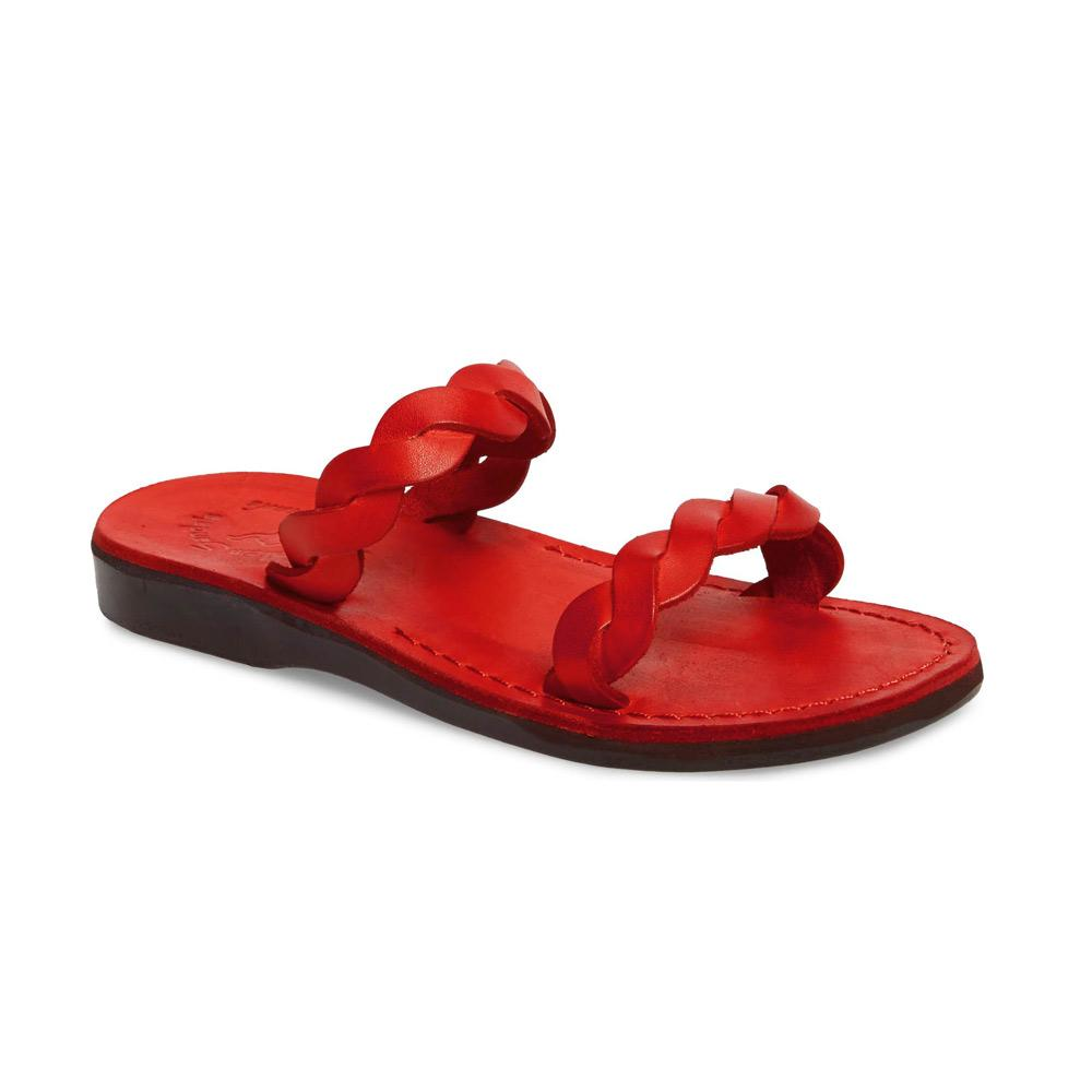Joanna red, handmade leather slide sandals - Front View