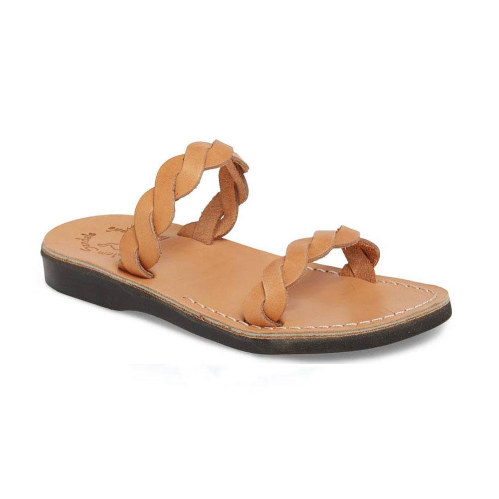 Joanna tan, handmade leather slide sandals - Front View