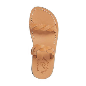 Joanna tan, handmade leather slide sandals - Side View