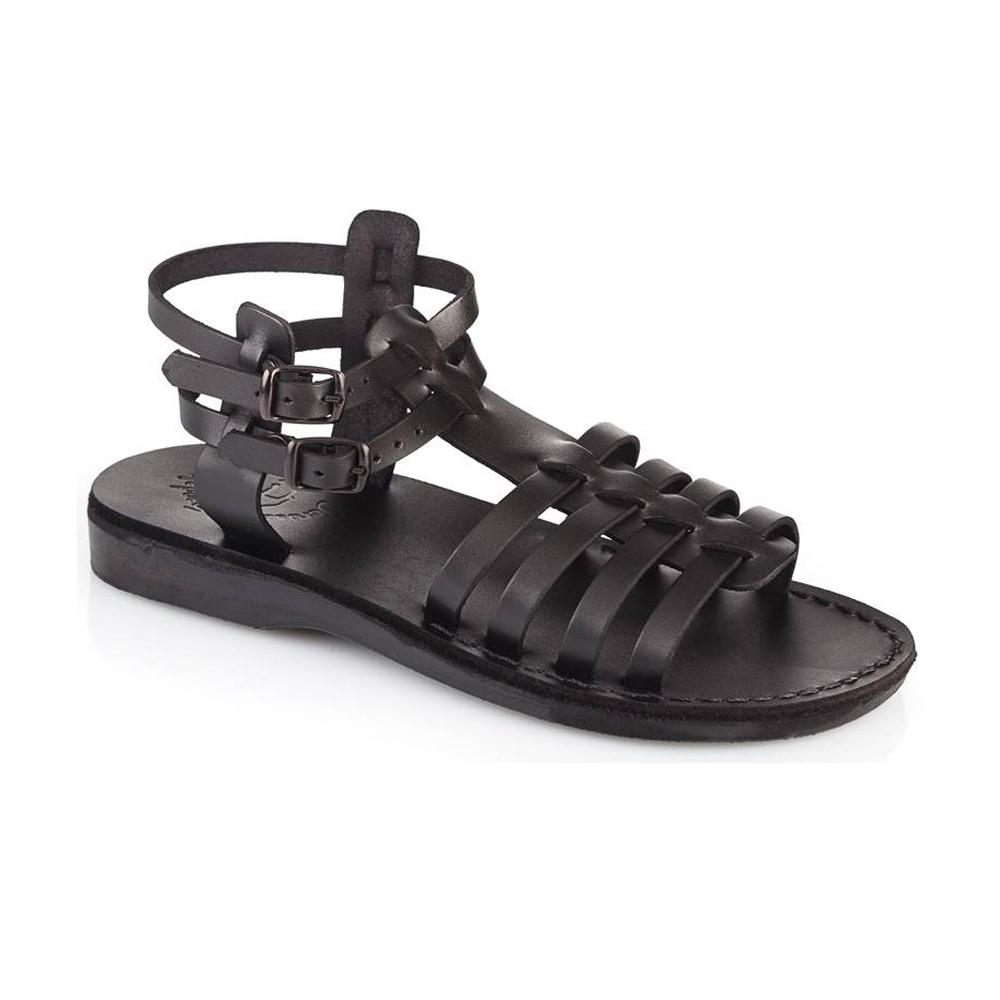 Leah black, handmade leather sandals with back strap  - Front View