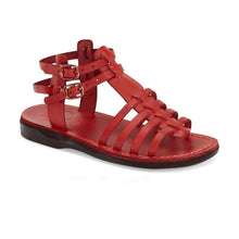 Load image into Gallery viewer, Leah red, handmade leather sandals with back strap  - Front View