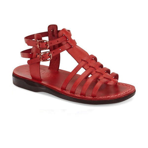 Leah red, handmade leather sandals with back strap  - Front View