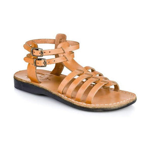 Leah tan, handmade leather sandals with back strap  - Front View