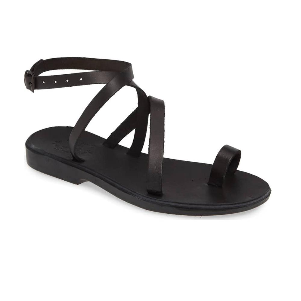 Mara black, handmade leather sandals with back strap and toe loop  - Front View
