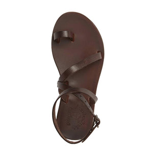 Mara brown, handmade leather sandals with back strap and toe loop- Side View