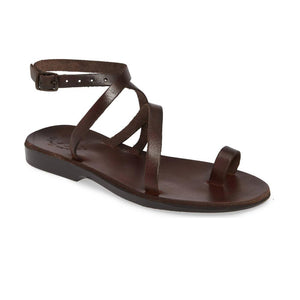 Mara brown, handmade leather sandals with back strap and toe loop  - Front View