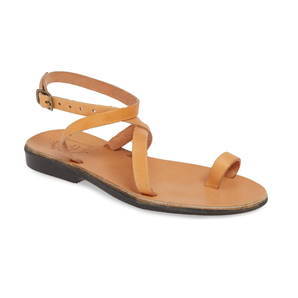 Mara tan, handmade leather sandals with back strap and toe loop  - Front View