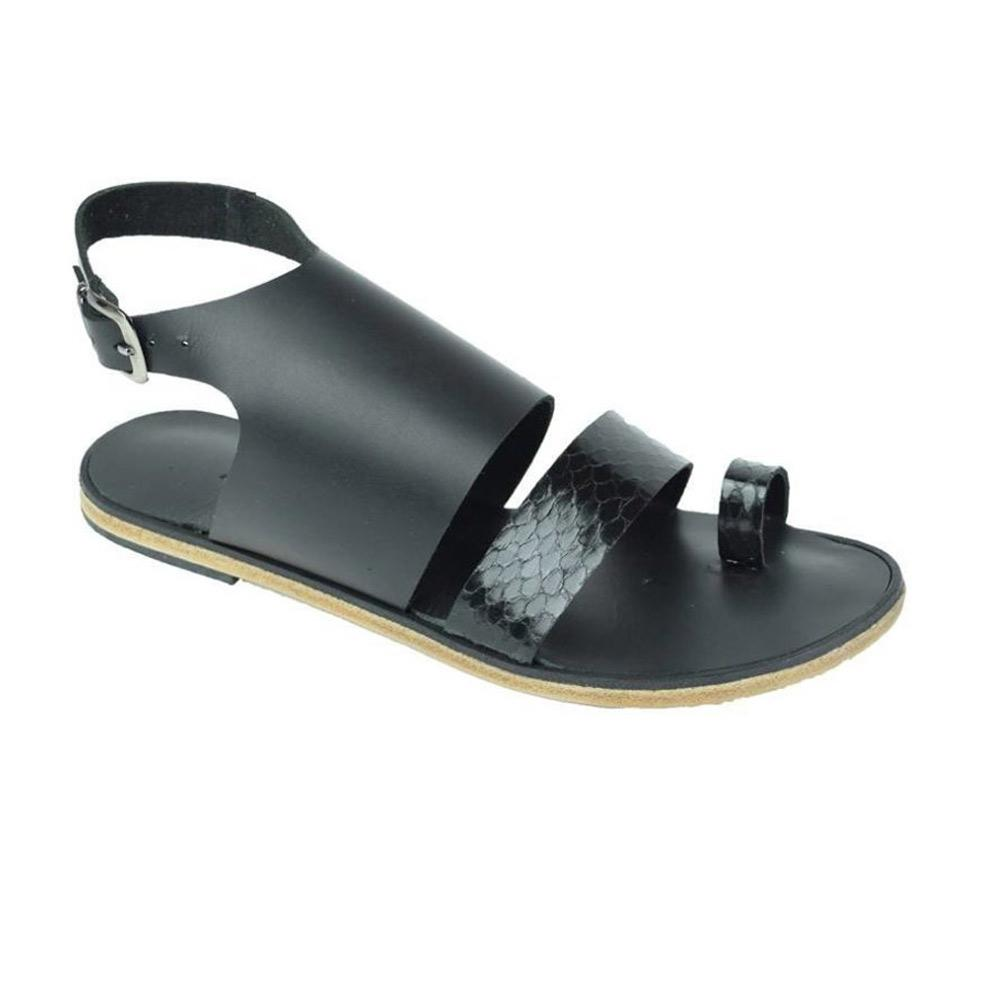 Melrose Avenue - Snake Skin Leather Sandal | Black