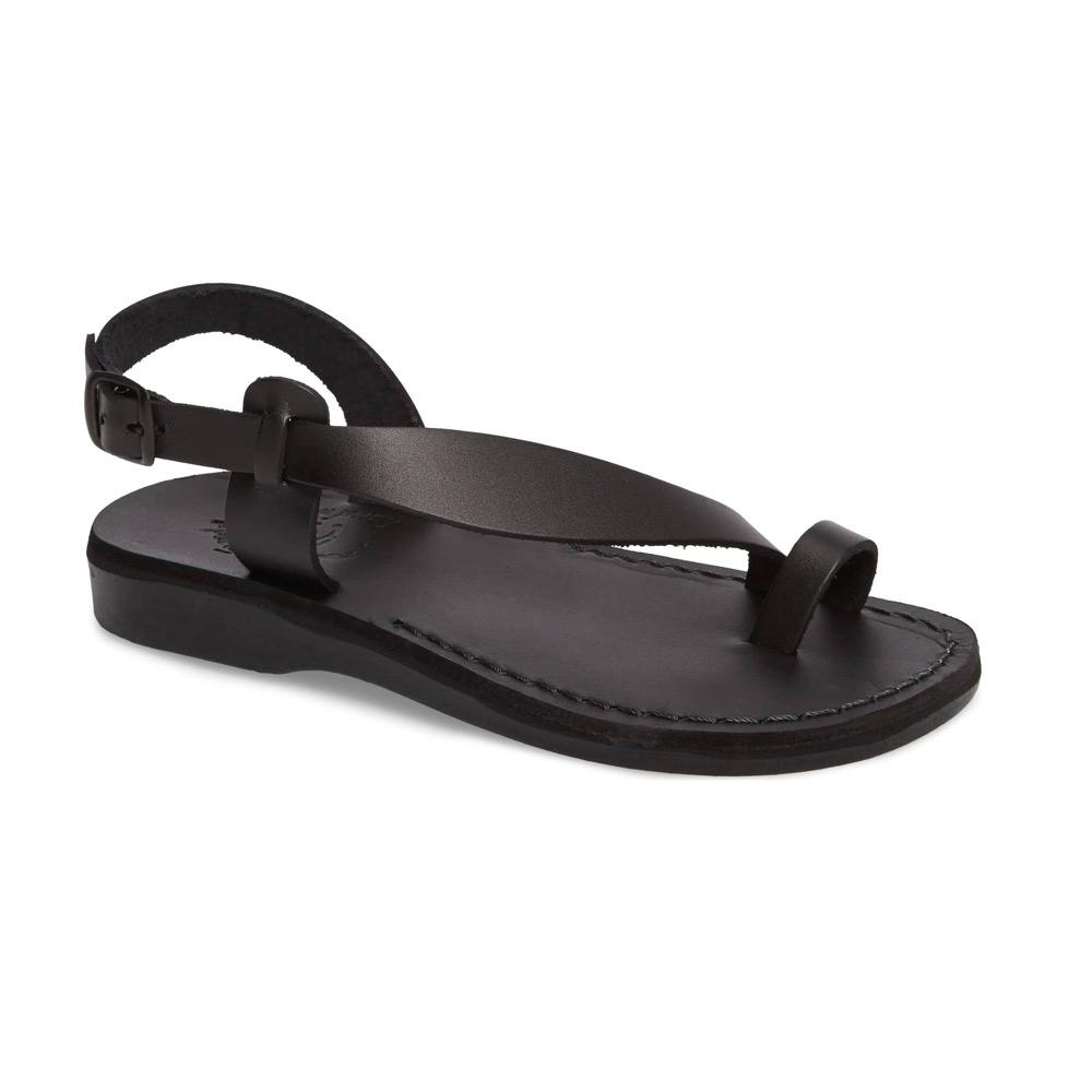 Mia black, handmade leather sandals with back strap and toe loop  - Front View