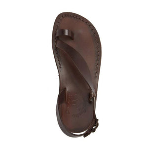 Mia brown, handmade leather sandals with back strap and toe loop- Side View