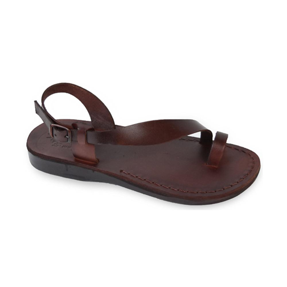 Mia brown, handmade leather sandals with back strap and toe loop  - Front View