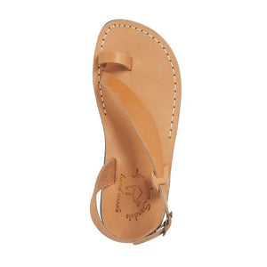 Mia tan, handmade leather sandals with back strap and toe loop- Side View