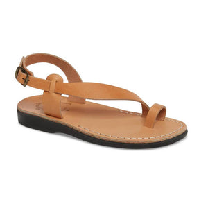 Mia tan, handmade leather sandals with back strap and toe loop  - Front View