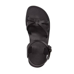 Miriamr black, handmade leather sandals with back strap  - Side View