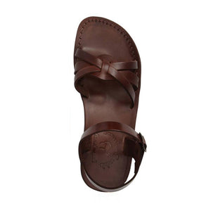 Miriam brown, handmade leather sandals with back strap  - Side View