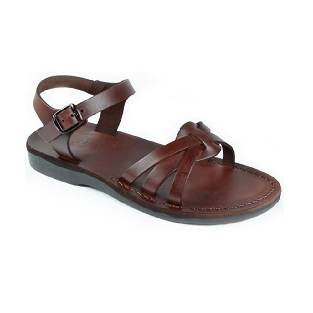 Miriam brown, handmade leather sandals with back strap  - Front View